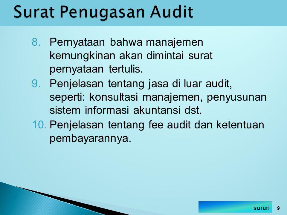 8.Pernyataan bahwa manajemen kemungkinan akan dimintai surat pernyataan tertulis. 9.Penjelasan tentang jasa di luar audit, seperti: konsultasi manajem