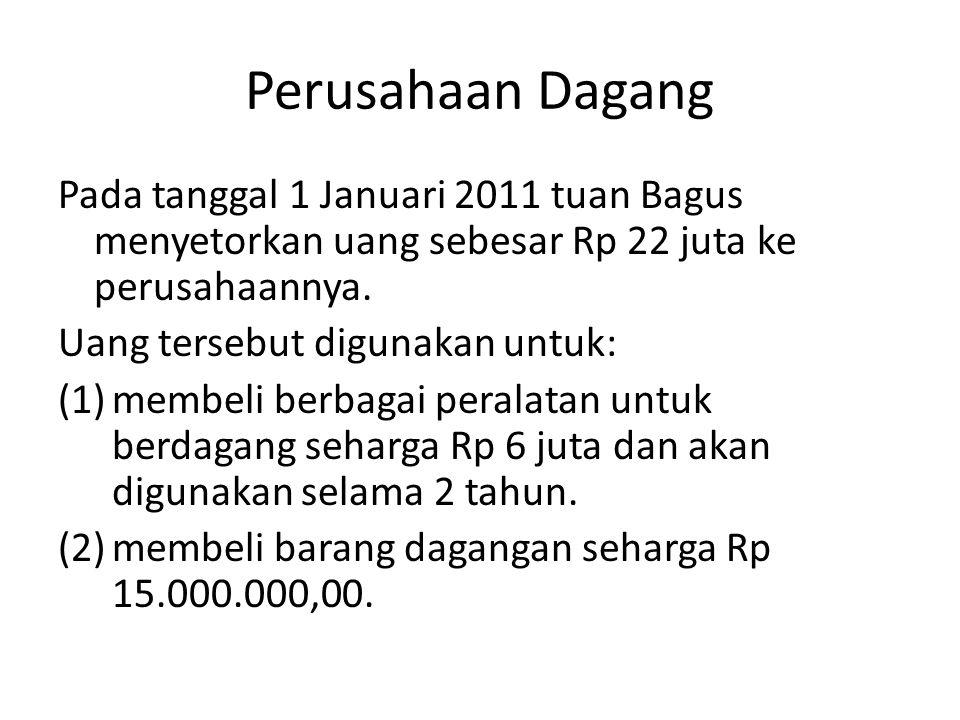 Perusahaan Dagang Pada tanggal 1 Januari 2011 tuan Bagus menyetorkan uang sebesar Rp 22 juta ke perusahaannya. Uang tersebut digunakan untuk: (1)membe
