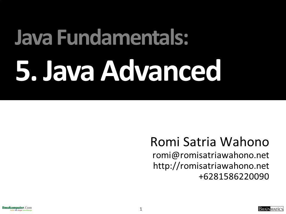 22 DemoThrow.java class DemoThrow{ public static void main(String[] args){ RuntimeException r = new RuntimeException( Eksepsi RuntimeException ); System.out.println( Sebelum Throw ); throw(r); }