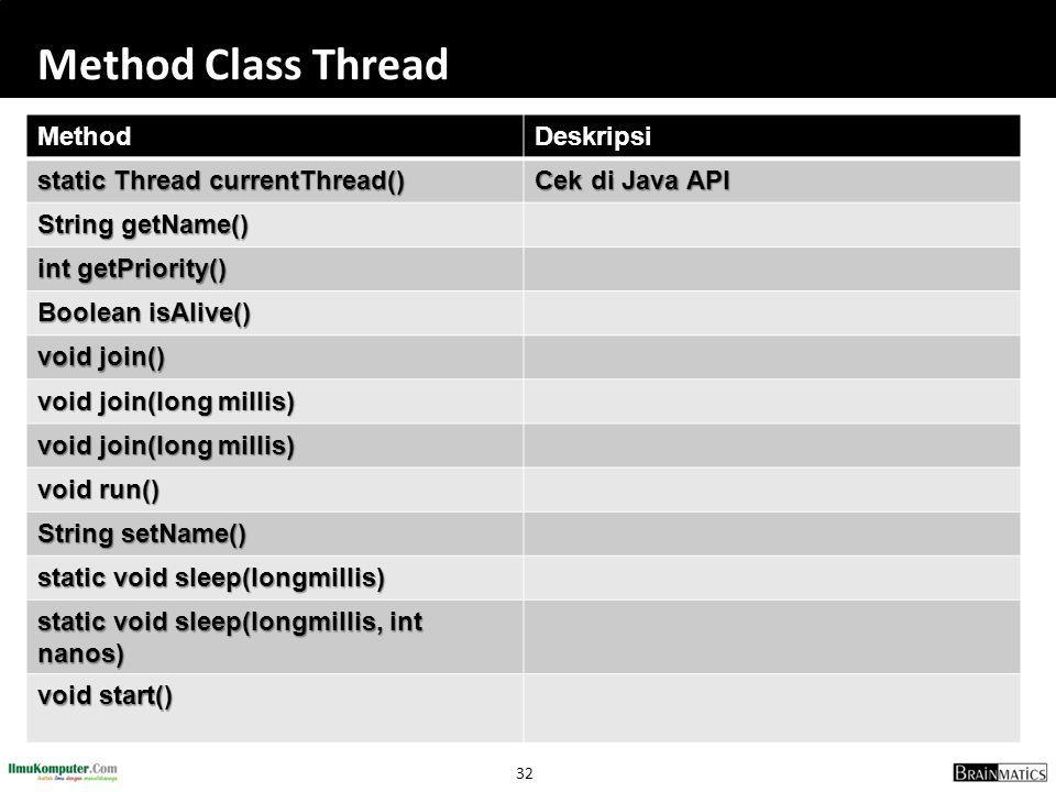 32 Method Class Thread MethodDeskripsi static Thread currentThread() Cek di Java API String getName() int getPriority() Boolean isAlive() void join()