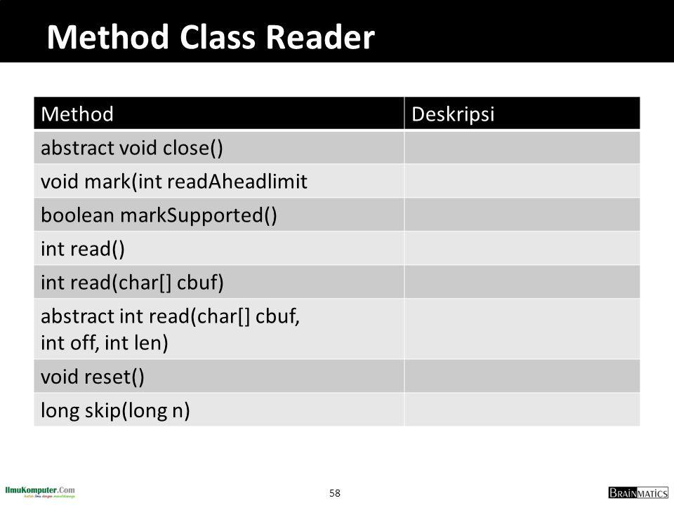 58 Method Class Reader MethodDeskripsi abstract void close() void mark(int readAheadlimit boolean markSupported() int read() int read(char[] cbuf) abs