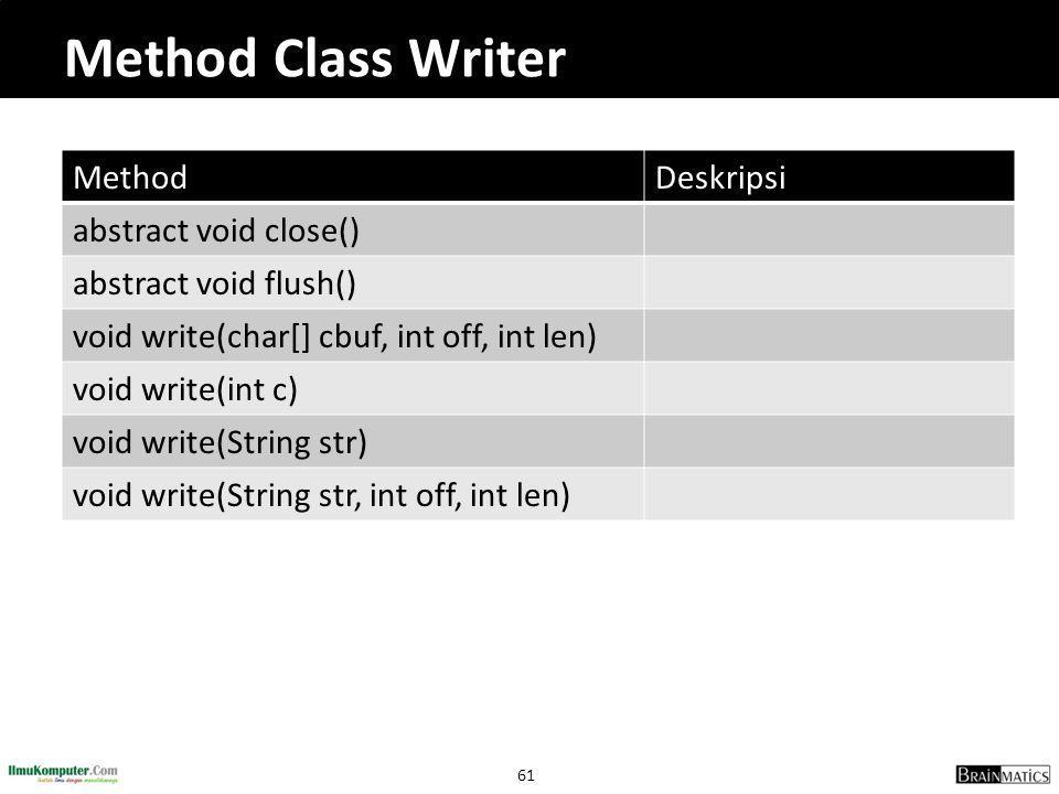 61 Method Class Writer MethodDeskripsi abstract void close() abstract void flush() void write(char[] cbuf, int off, int len) void write(int c) void write(String str) void write(String str, int off, int len)