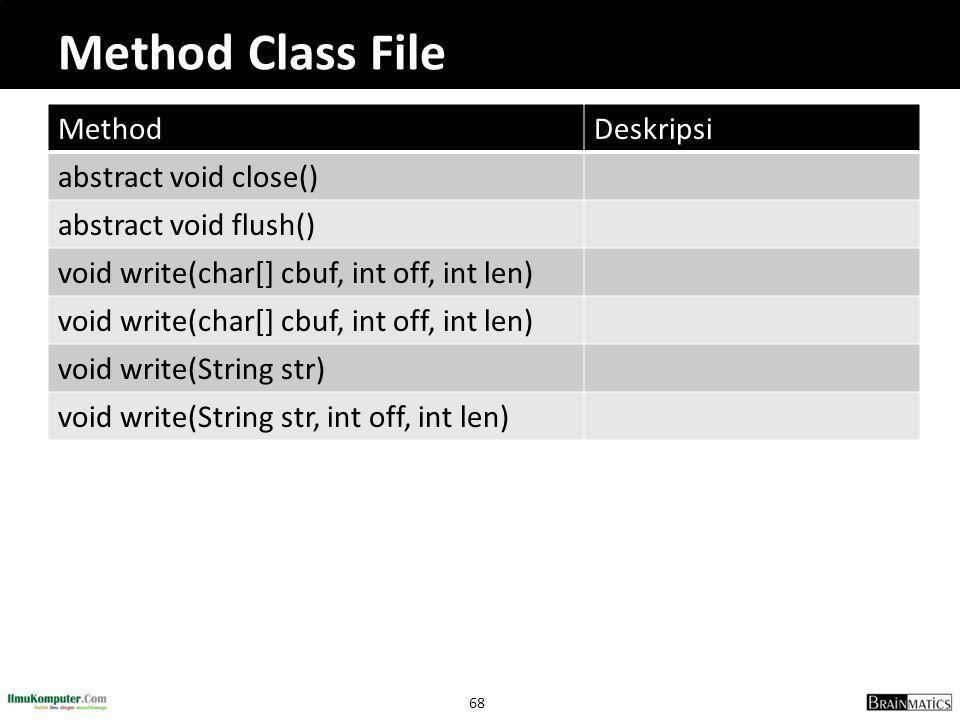 68 Method Class File MethodDeskripsi abstract void close() abstract void flush() void write(char[] cbuf, int off, int len) void write(String str) void