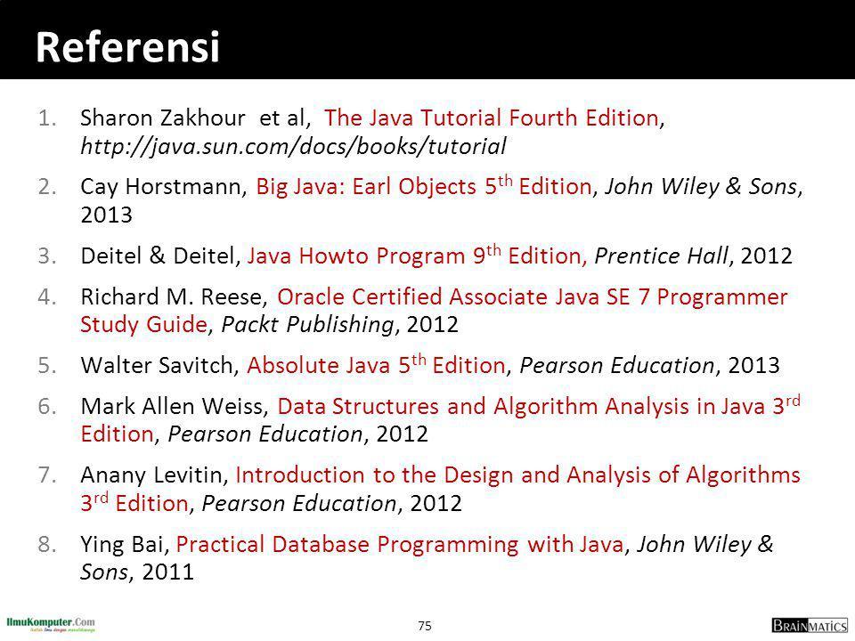 75 Referensi 1.Sharon Zakhour et al, The Java Tutorial Fourth Edition, http://java.sun.com/docs/books/tutorial 2.Cay Horstmann, Big Java: Earl Objects