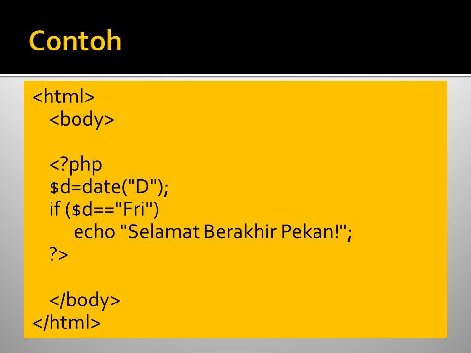 < php $d=date( D ); if ($d== Fri ) echo Selamat Berakhir Pekan! ; >