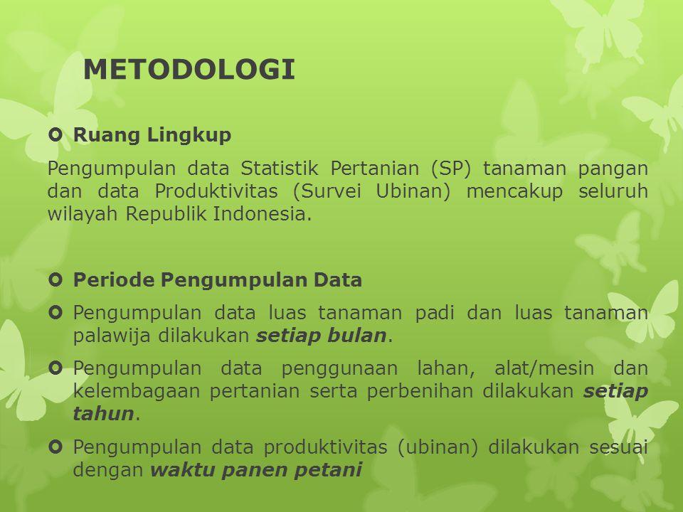 METODOLOGI  Ruang Lingkup Pengumpulan data Statistik Pertanian (SP) tanaman pangan dan data Produktivitas (Survei Ubinan) mencakup seluruh wilayah Re