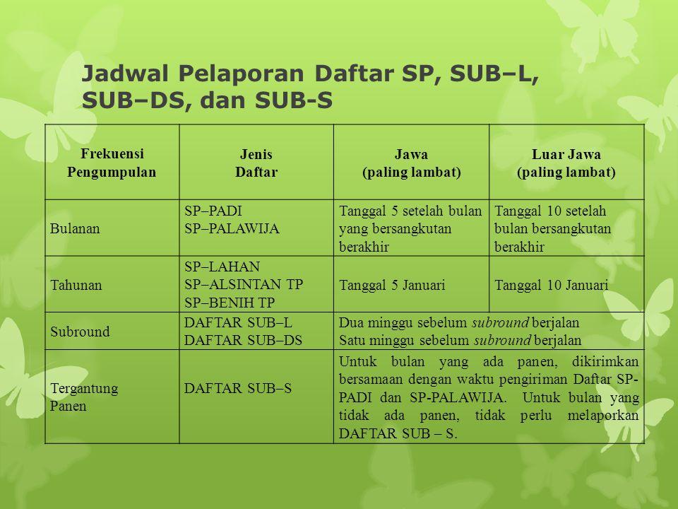 Jadwal Pelaporan Daftar SP, SUB–L, SUB–DS, dan SUB-S Frekuensi Pengumpulan Jenis Daftar Jawa (paling lambat) Luar Jawa (paling lambat) Bulanan SP–PADI