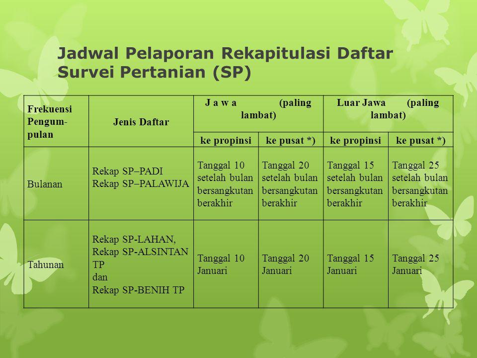 Jadwal Pelaporan Rekapitulasi Daftar Survei Pertanian (SP) Frekuensi Pengum- pulan Jenis Daftar J a w a (paling lambat) Luar Jawa (paling lambat) ke p