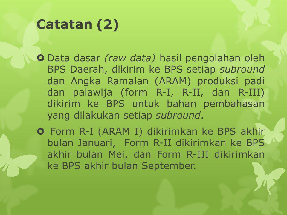 Catatan (2)  Data dasar (raw data) hasil pengolahan oleh BPS Daerah, dikirim ke BPS setiap subround dan Angka Ramalan (ARAM) produksi padi dan palawi