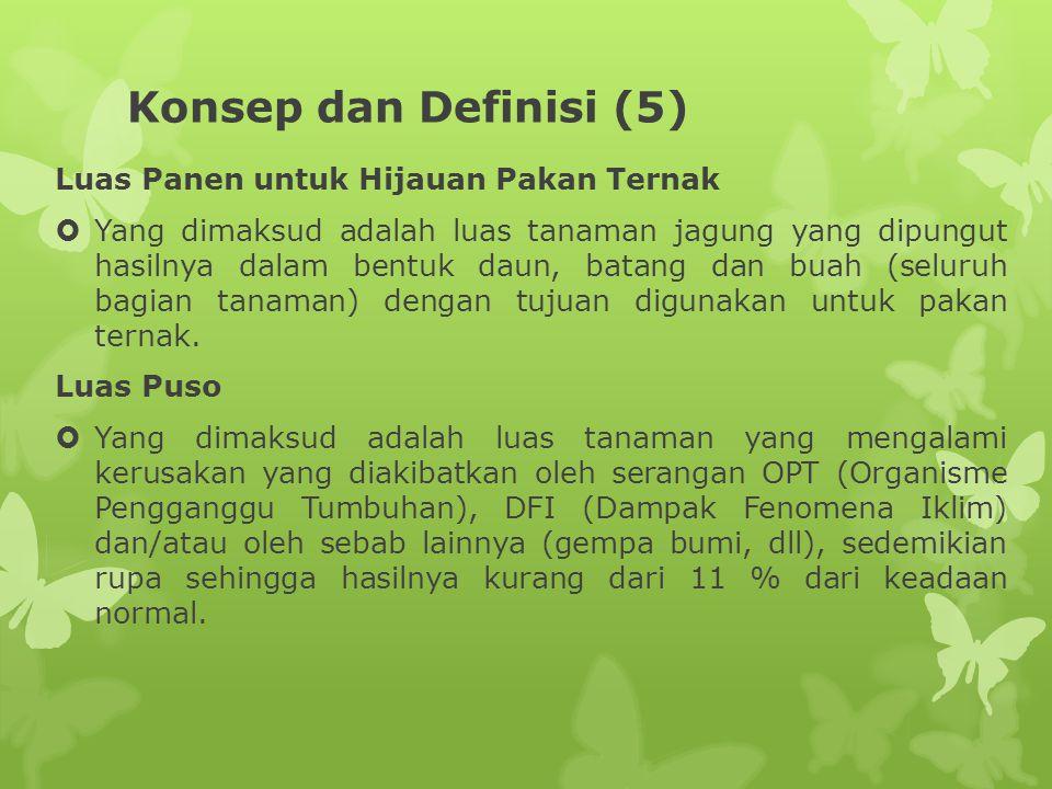 Konsep dan Definisi (5) Luas Panen untuk Hijauan Pakan Ternak  Yang dimaksud adalah luas tanaman jagung yang dipungut hasilnya dalam bentuk daun, bat