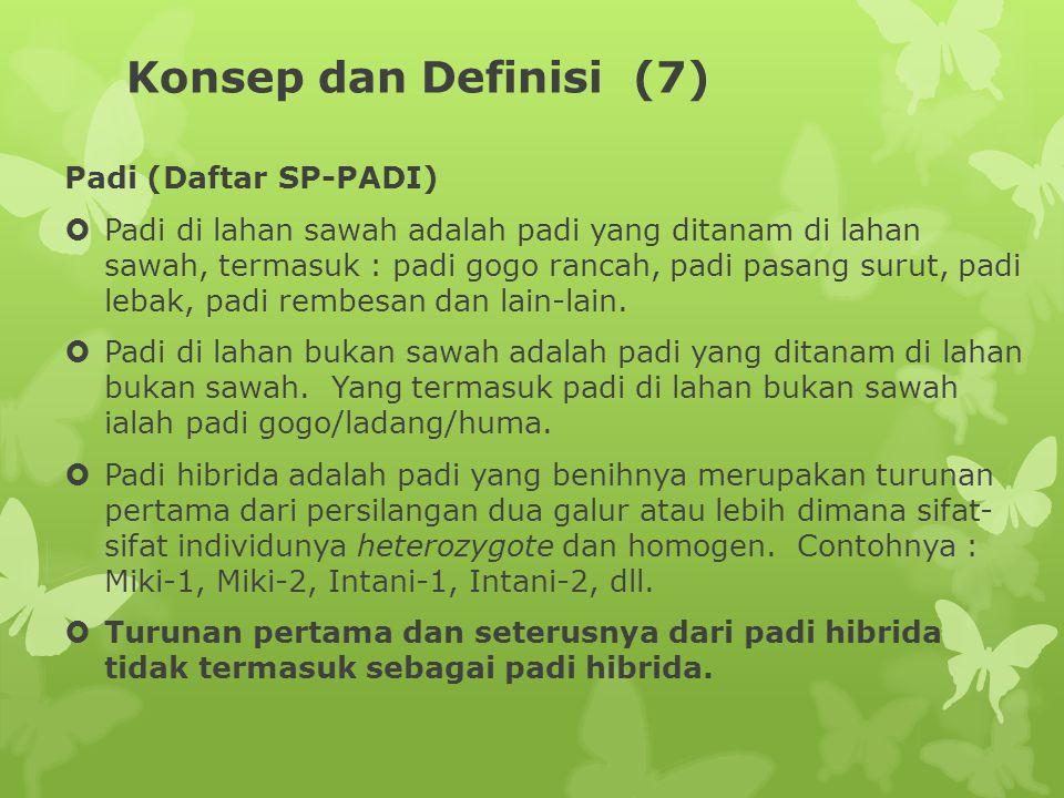 Konsep dan Definisi (7) Padi (Daftar SP-PADI)  Padi di lahan sawah adalah padi yang ditanam di lahan sawah, termasuk : padi gogo rancah, padi pasang