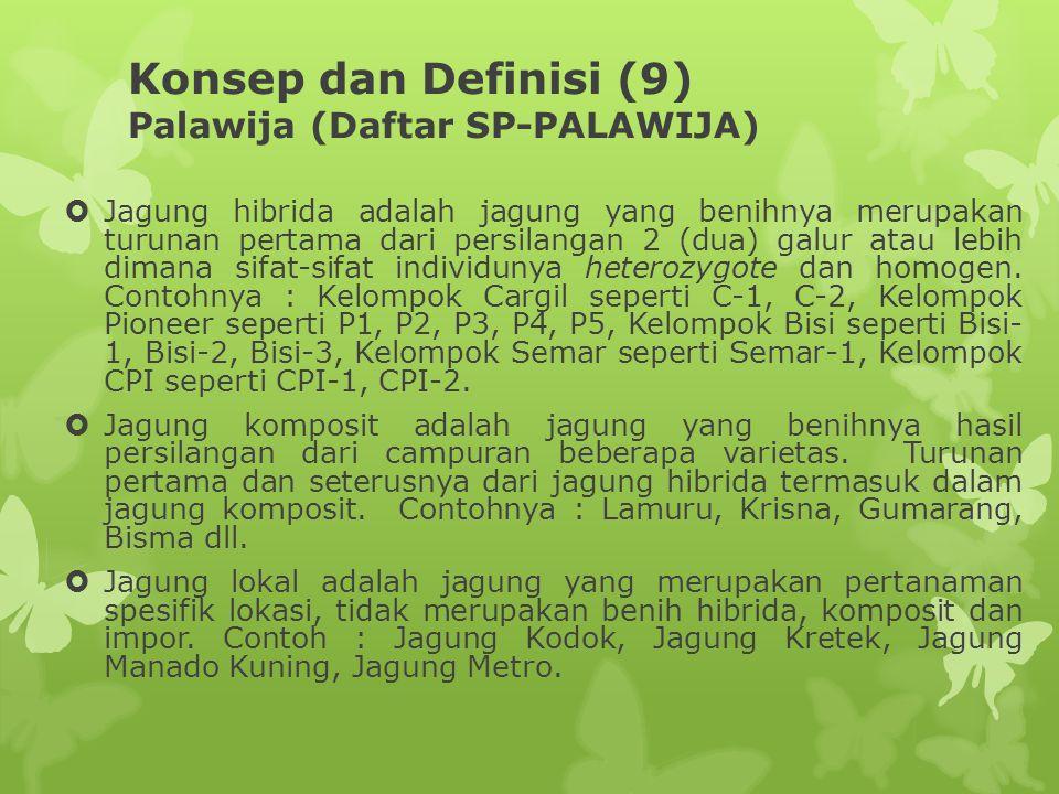 Konsep dan Definisi (9) Palawija (Daftar SP-PALAWIJA)  Jagung hibrida adalah jagung yang benihnya merupakan turunan pertama dari persilangan 2 (dua)