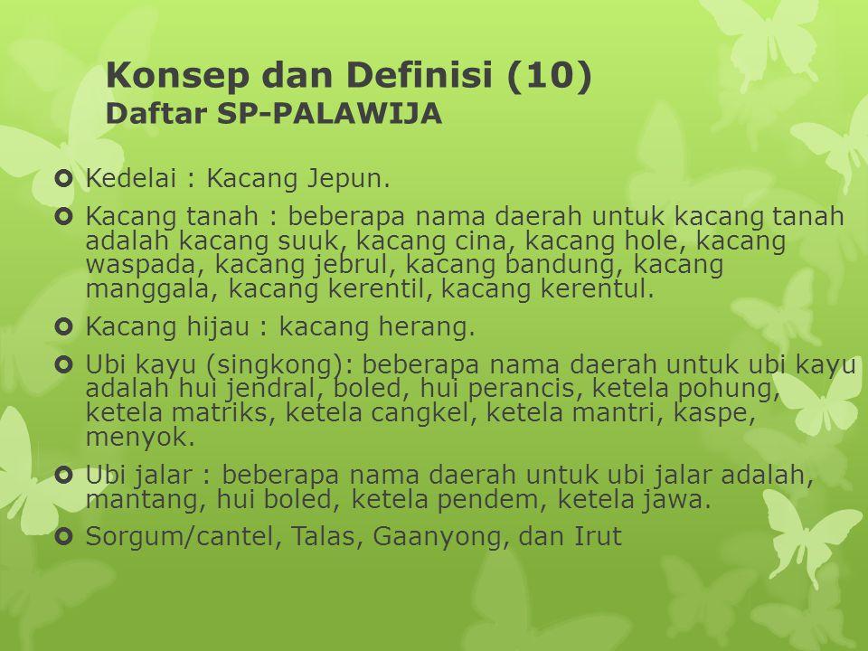 Konsep dan Definisi (10) Daftar SP-PALAWIJA  Kedelai : Kacang Jepun.  Kacang tanah : beberapa nama daerah untuk kacang tanah adalah kacang suuk, kac