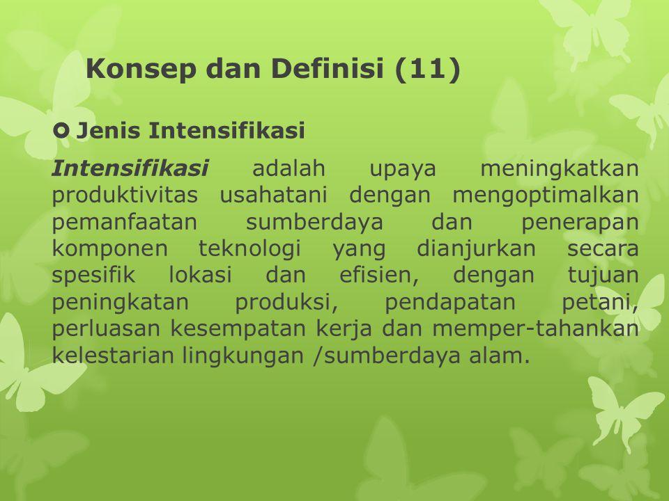 Konsep dan Definisi (11)  Jenis Intensifikasi Intensifikasi adalah upaya meningkatkan produktivitas usahatani dengan mengoptimalkan pemanfaatan sumbe