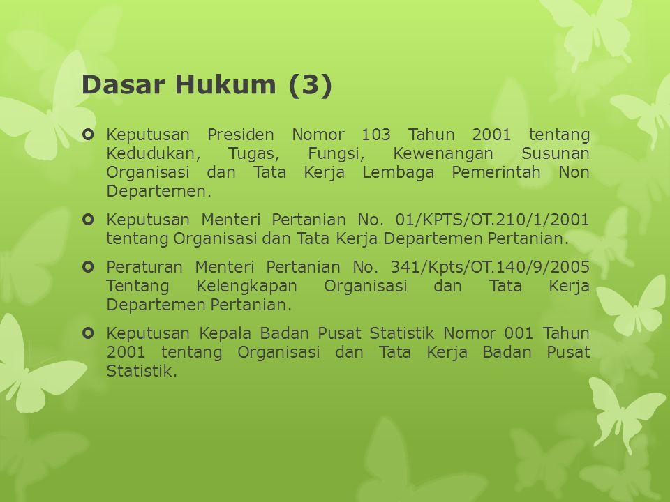Dasar Hukum (3)  Keputusan Presiden Nomor 103 Tahun 2001 tentang Kedudukan, Tugas, Fungsi, Kewenangan Susunan Organisasi dan Tata Kerja Lembaga Pemer
