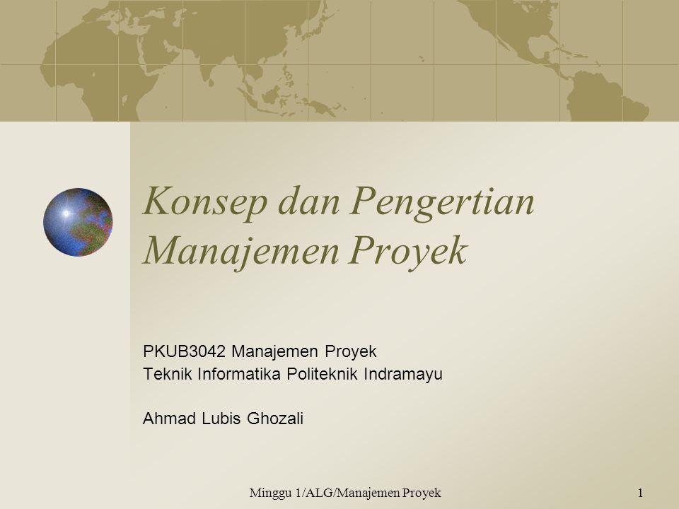 Konsep dan Pengertian Manajemen Proyek PKUB3042 Manajemen Proyek Teknik Informatika Politeknik Indramayu Ahmad Lubis Ghozali Minggu 1/ALG/Manajemen Proyek1
