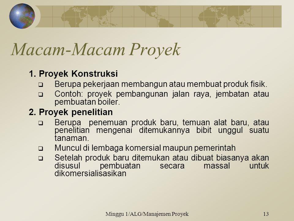 Macam-Macam Proyek 1.Proyek Konstruksi  Berupa pekerjaan membangun atau membuat produk fisik.