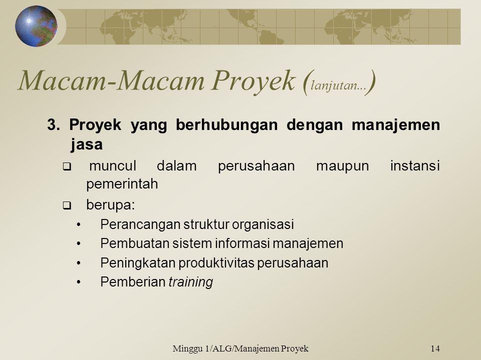 Macam-Macam Proyek ( lanjutan... ) 3. Proyek yang berhubungan dengan manajemen jasa  muncul dalam perusahaan maupun instansi pemerintah  berupa: •Pe
