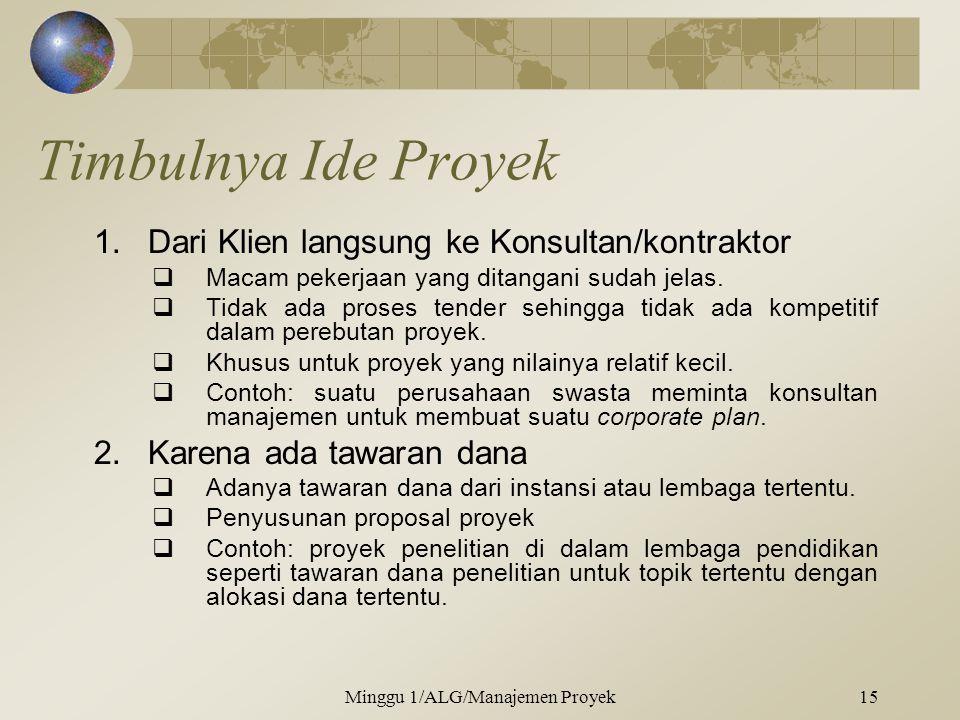 Timbulnya Ide Proyek 1.Dari Klien langsung ke Konsultan/kontraktor  Macam pekerjaan yang ditangani sudah jelas.