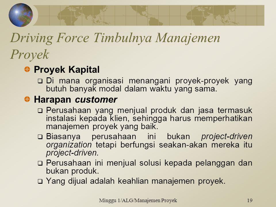 Driving Force Timbulnya Manajemen Proyek Proyek Kapital  Di mana organisasi menangani proyek-proyek yang butuh banyak modal dalam waktu yang sama.