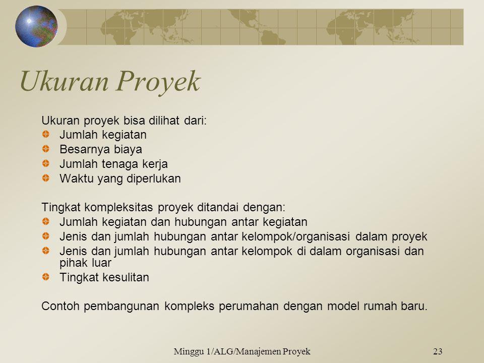 Ukuran Proyek Ukuran proyek bisa dilihat dari: Jumlah kegiatan Besarnya biaya Jumlah tenaga kerja Waktu yang diperlukan Tingkat kompleksitas proyek di
