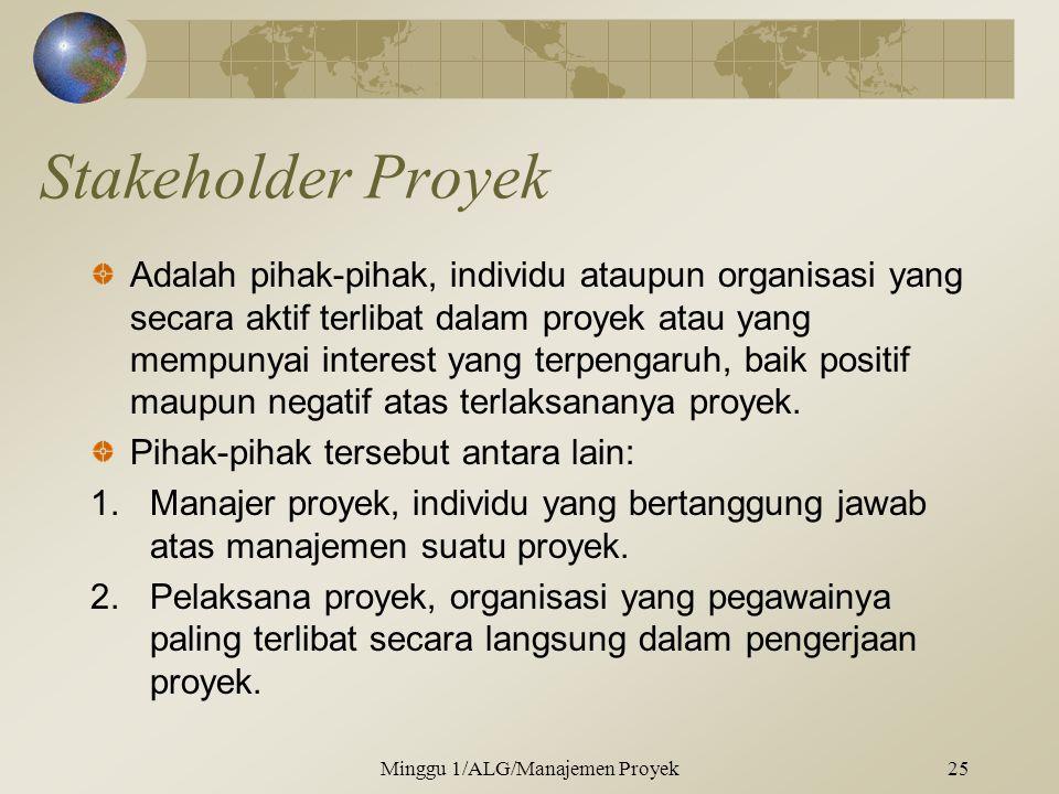 Stakeholder Proyek Adalah pihak-pihak, individu ataupun organisasi yang secara aktif terlibat dalam proyek atau yang mempunyai interest yang terpengaruh, baik positif maupun negatif atas terlaksananya proyek.