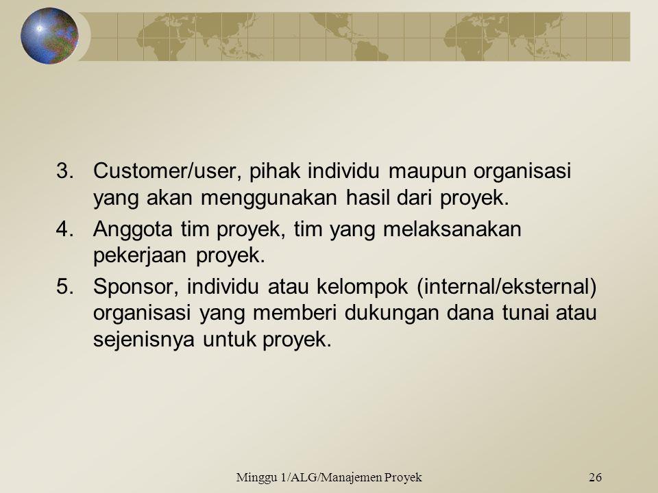 3.Customer/user, pihak individu maupun organisasi yang akan menggunakan hasil dari proyek. 4.Anggota tim proyek, tim yang melaksanakan pekerjaan proye