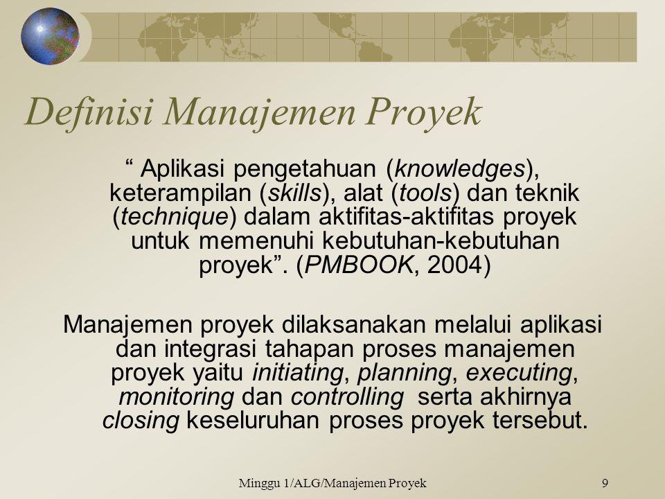 Definisi Manajemen Proyek Aplikasi pengetahuan (knowledges), keterampilan (skills), alat (tools) dan teknik (technique) dalam aktifitas-aktifitas proyek untuk memenuhi kebutuhan-kebutuhan proyek .