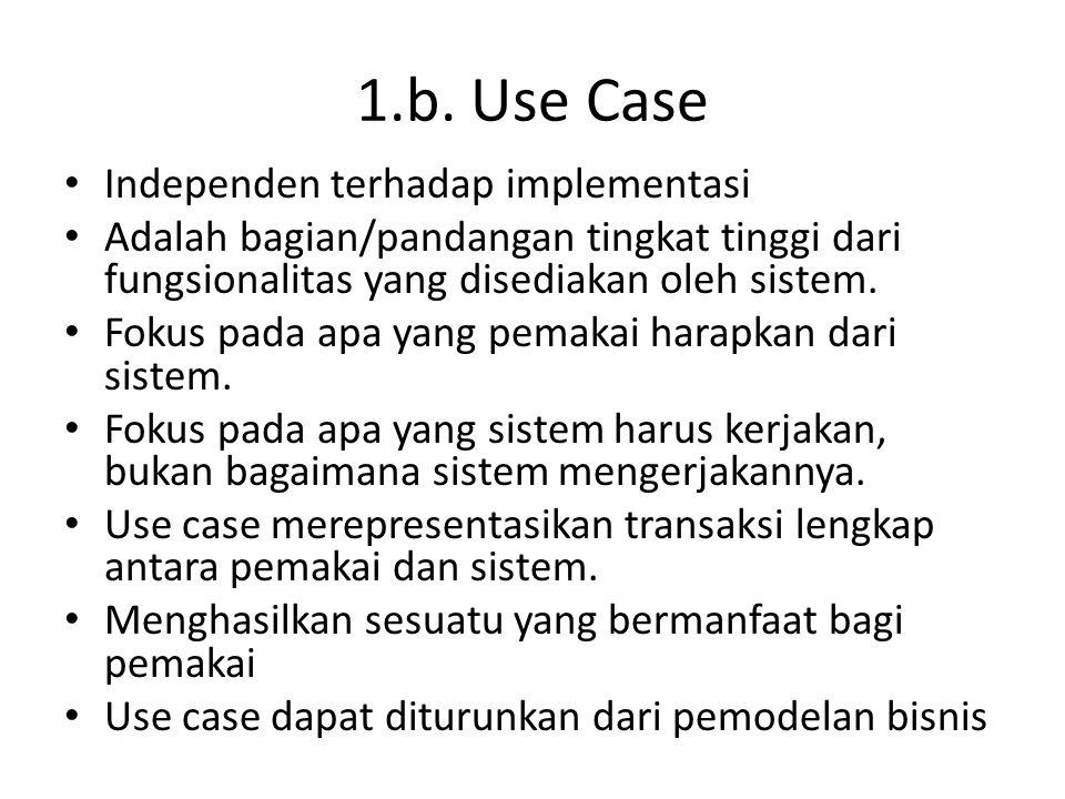 1.b. Use Case • Independen terhadap implementasi • Adalah bagian/pandangan tingkat tinggi dari fungsionalitas yang disediakan oleh sistem. • Fokus pad