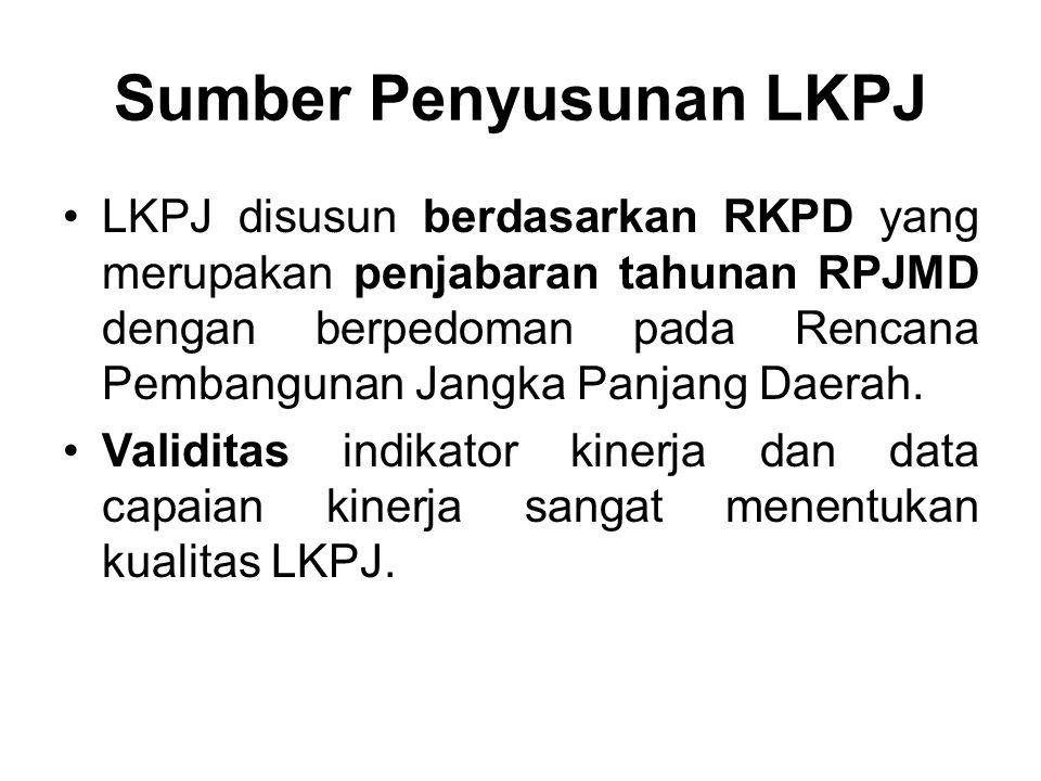 Sumber Penyusunan LKPJ •LKPJ disusun berdasarkan RKPD yang merupakan penjabaran tahunan RPJMD dengan berpedoman pada Rencana Pembangunan Jangka Panjan