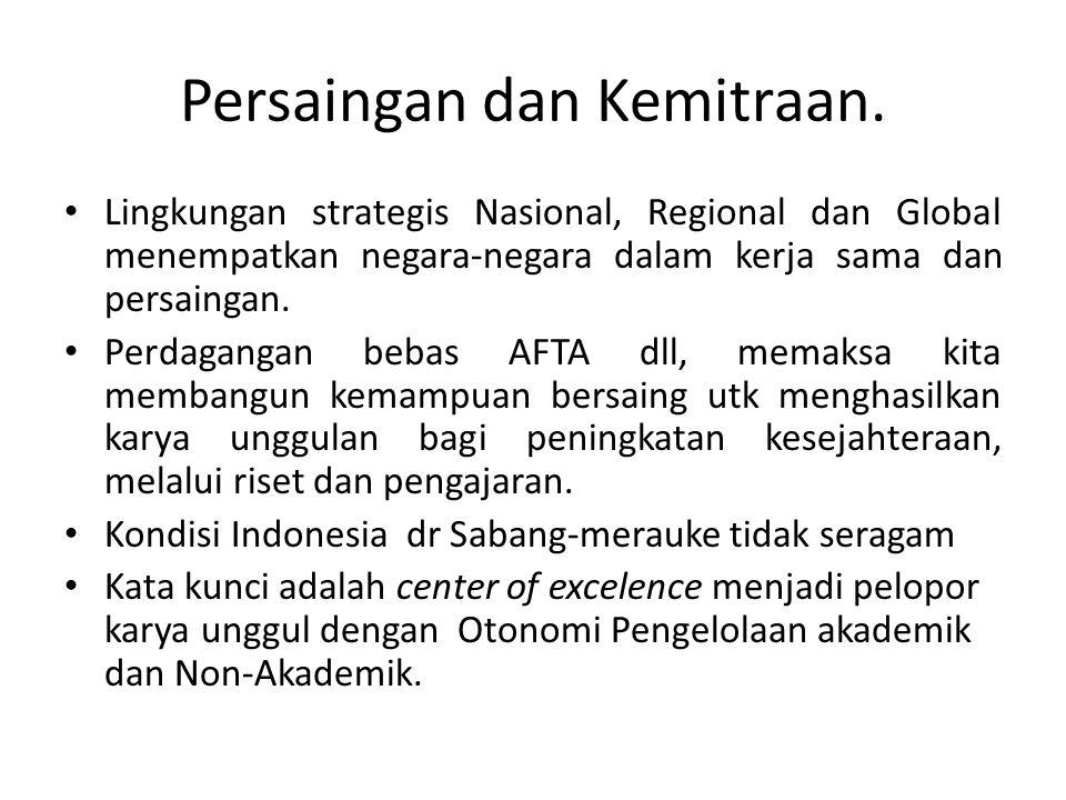 Persaingan dan Kemitraan. • Lingkungan strategis Nasional, Regional dan Global menempatkan negara-negara dalam kerja sama dan persaingan. • Perdaganga