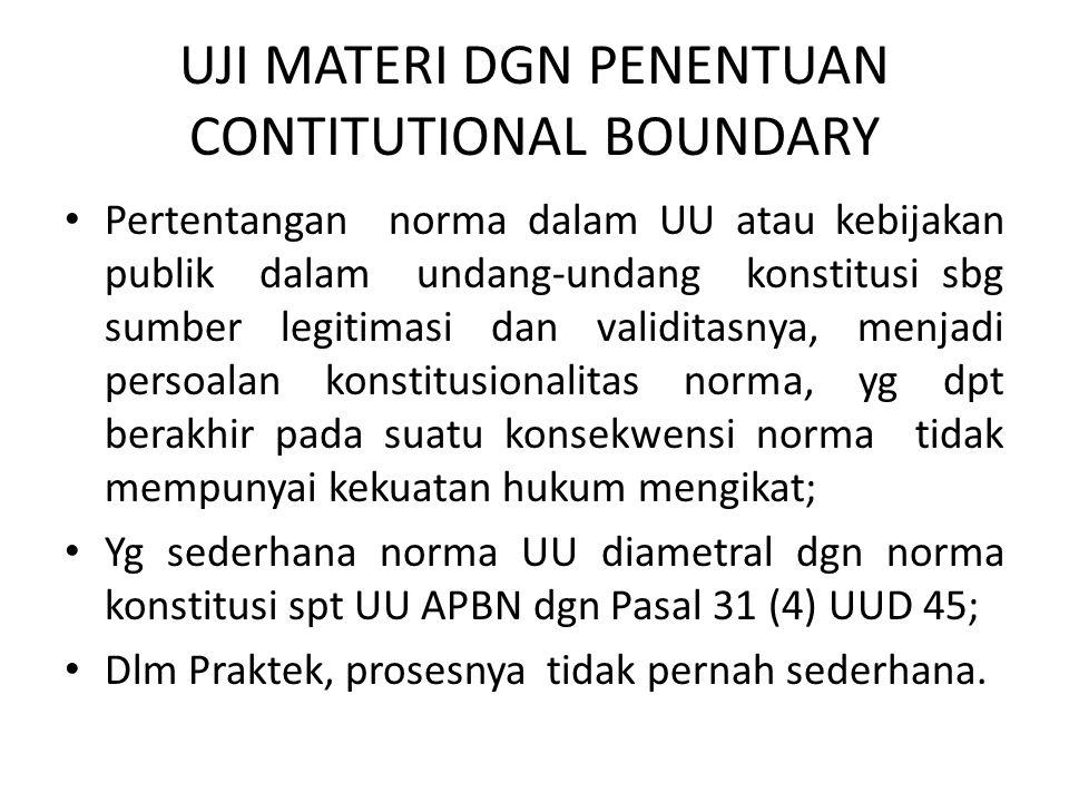 UJI MATERI DGN PENENTUAN CONTITUTIONAL BOUNDARY • Pertentangan norma dalam UU atau kebijakan publik dalam undang-undang konstitusi sbg sumber legitima