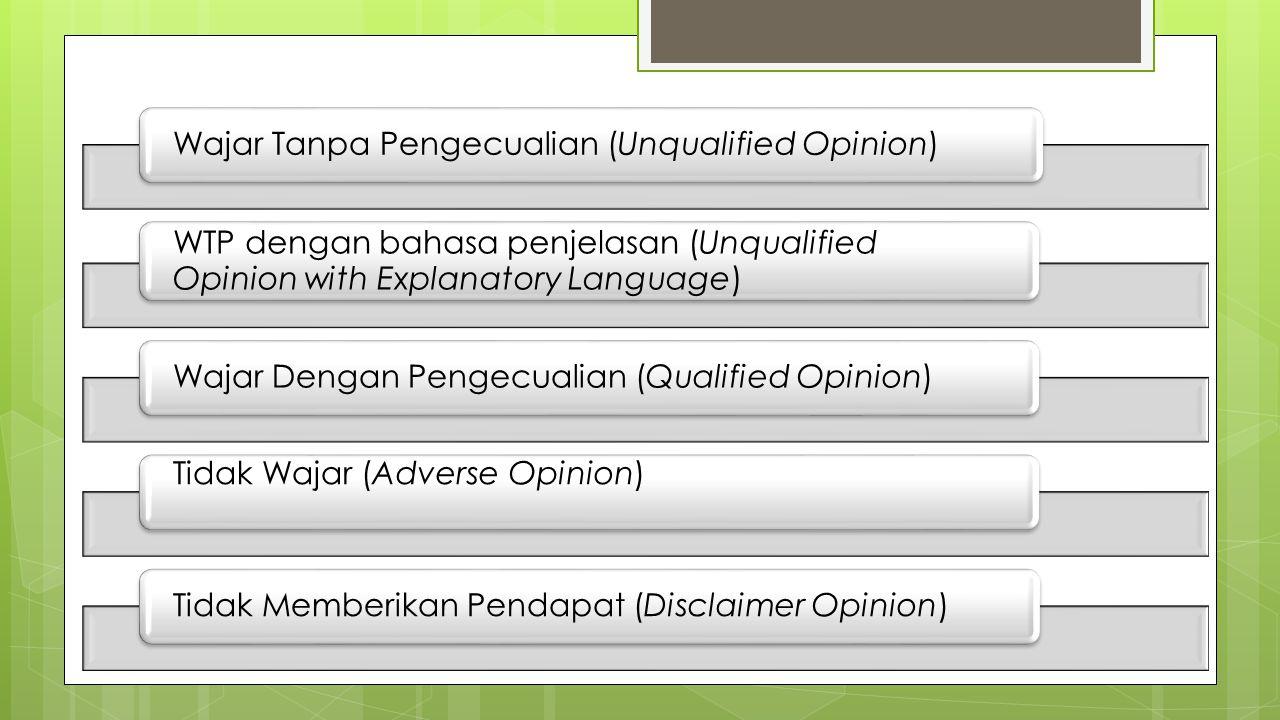 Wajar Tanpa Pengecualian (Unqualified Opinion) WTP dengan bahasa penjelasan (Unqualified Opinion with Explanatory Language) Wajar Dengan Pengecualian (Qualified Opinion) Tidak Wajar (Adverse Opinion) Tidak Memberikan Pendapat (Disclaimer Opinion)