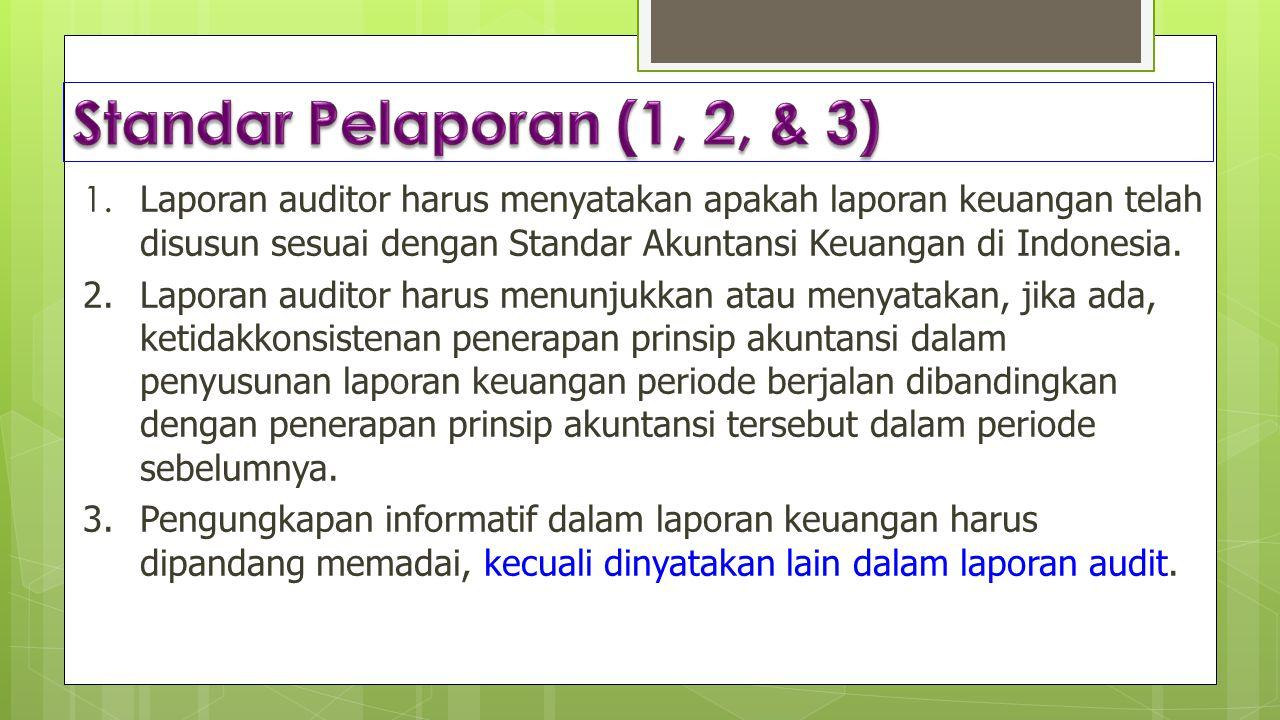 1. Laporan auditor harus menyatakan apakah laporan keuangan telah disusun sesuai dengan Standar Akuntansi Keuangan di Indonesia. 2. Laporan auditor ha