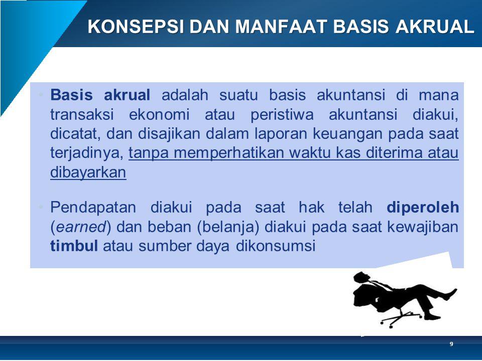 KONSEPSI DAN MANFAAT BASIS AKRUAL •Basis akrual adalah suatu basis akuntansi di mana transaksi ekonomi atau peristiwa akuntansi diakui, dicatat, dan d