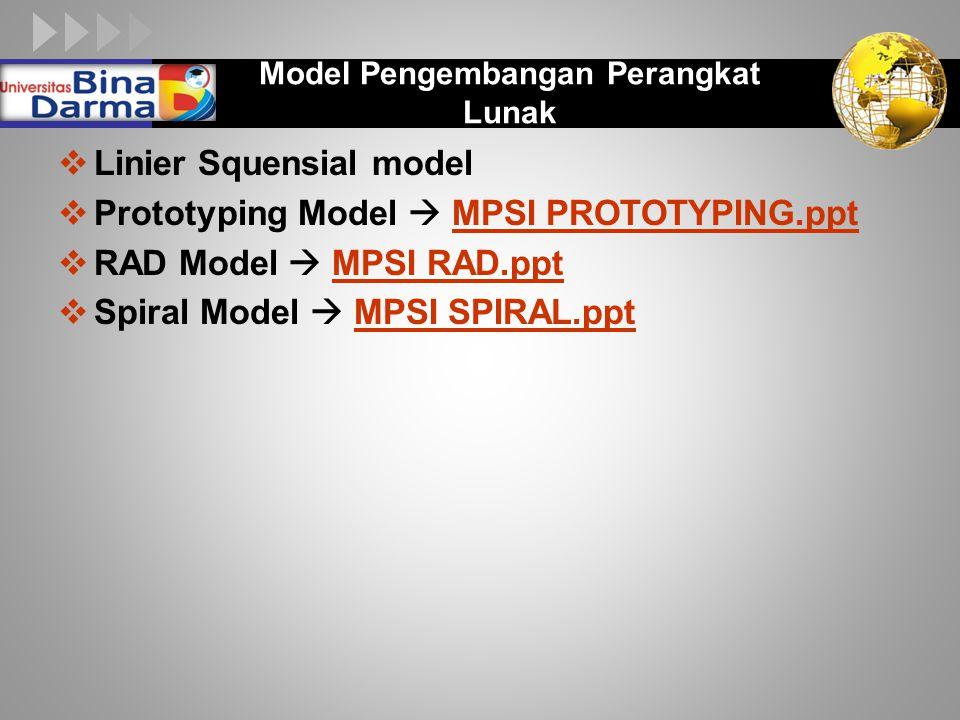 LOGO Model Pengembangan Perangkat Lunak  Linier Squensial model  Prototyping Model  MPSI PROTOTYPING.pptMPSI PROTOTYPING.ppt  RAD Model  MPSI RAD