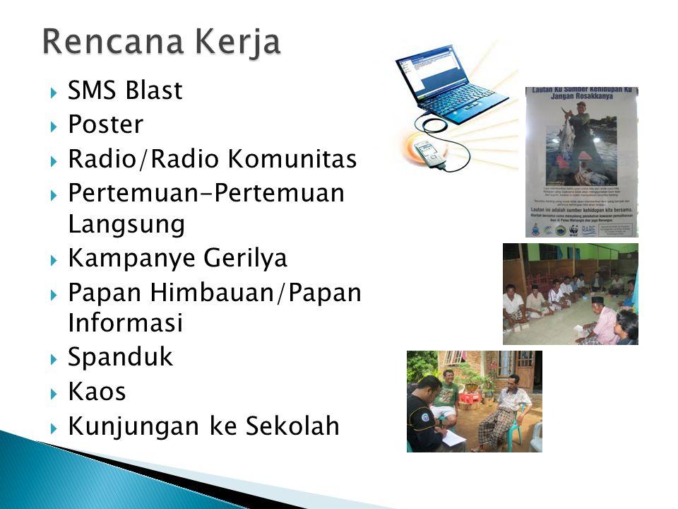  SMS Blast  Poster  Radio/Radio Komunitas  Pertemuan-Pertemuan Langsung  Kampanye Gerilya  Papan Himbauan/Papan Informasi  Spanduk  Kaos  Kun