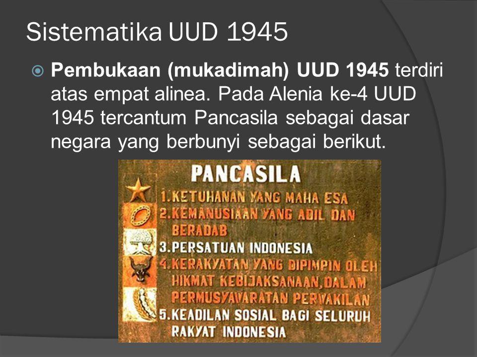 Sistematika UUD 1945  Pembukaan (mukadimah) UUD 1945 terdiri atas empat alinea. Pada Alenia ke-4 UUD 1945 tercantum Pancasila sebagai dasar negara ya