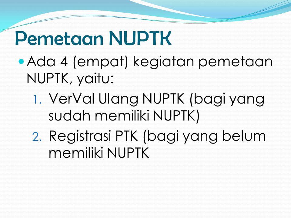 Pemetaan NUPTK  Ada 4 (empat) kegiatan pemetaan NUPTK, yaitu: 1. VerVal Ulang NUPTK (bagi yang sudah memiliki NUPTK) 2. Registrasi PTK (bagi yang bel