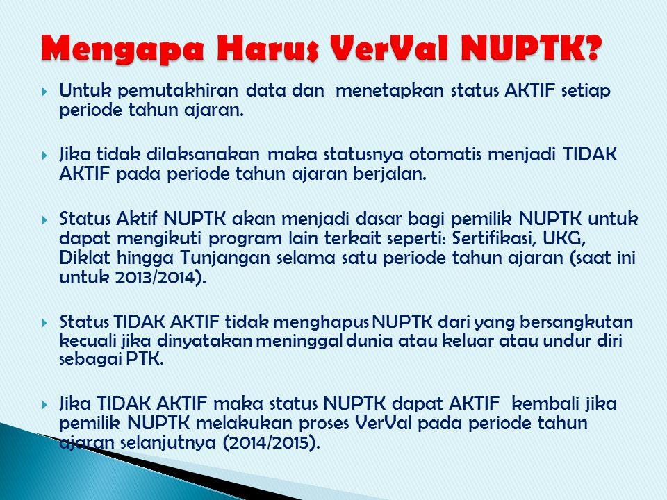  Untuk pemutakhiran data dan menetapkan status AKTIF setiap periode tahun ajaran.  Jika tidak dilaksanakan maka statusnya otomatis menjadi TIDAK AKT