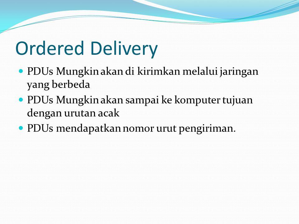 Ordered Delivery  PDUs Mungkin akan di kirimkan melalui jaringan yang berbeda  PDUs Mungkin akan sampai ke komputer tujuan dengan urutan acak  PDUs