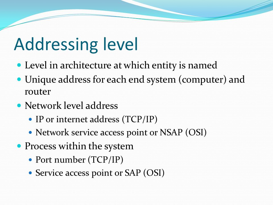Addressing level  Level in architecture at which entity is named  Unique address for each end system (computer) and router  Network level address 