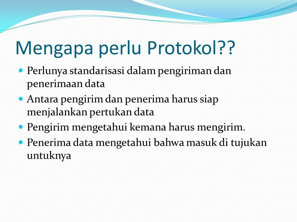Mengapa perlu Protokol??  Perlunya standarisasi dalam pengiriman dan penerimaan data  Antara pengirim dan penerima harus siap menjalankan pertukan d