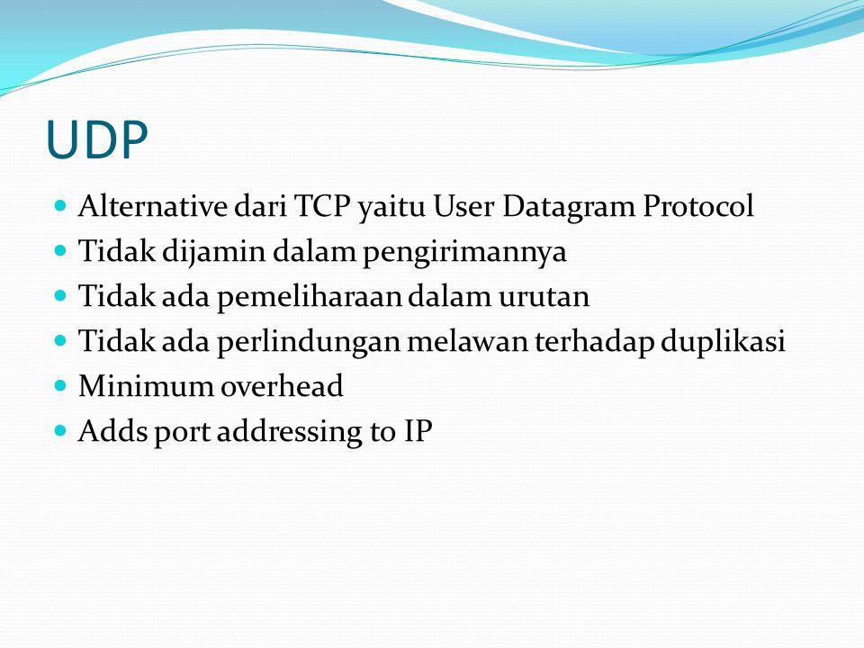 UDP  Alternative dari TCP yaitu User Datagram Protocol  Tidak dijamin dalam pengirimannya  Tidak ada pemeliharaan dalam urutan  Tidak ada perlindu