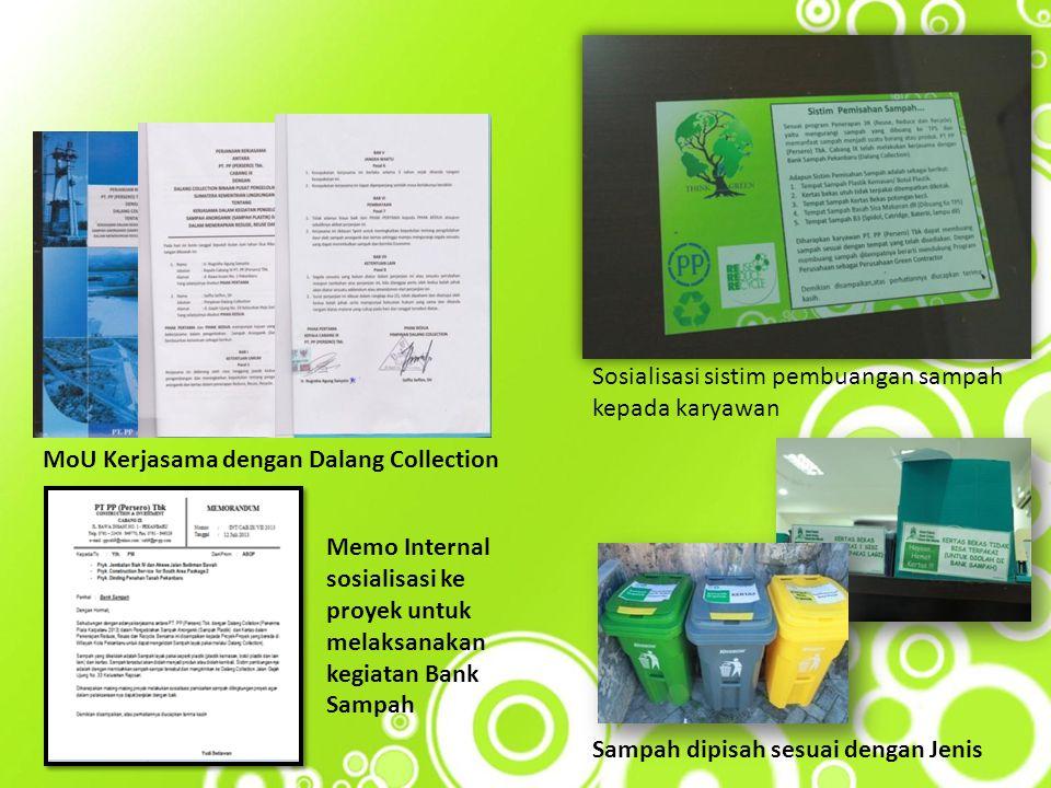 Sosialisasi sistim pembuangan sampah kepada karyawan MoU Kerjasama dengan Dalang Collection Sampah dipisah sesuai dengan Jenis Memo Internal sosialisa