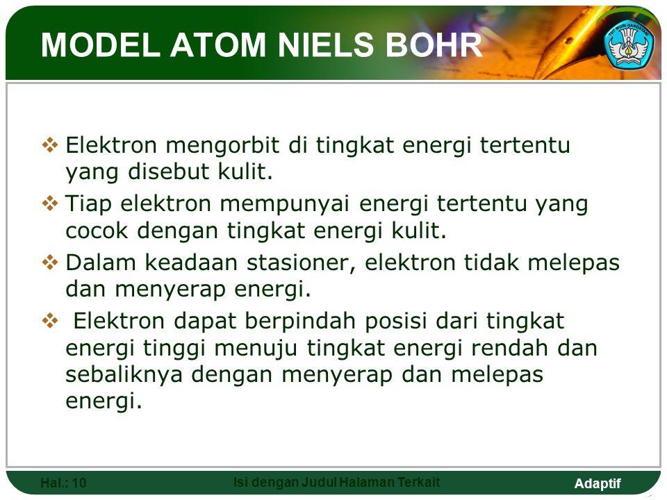Adaptif MODEL ATOM ERNEST RUTHERFORD  Atom mempunyai inti yang bermuatan positif dan merupakan pusat massa atom dan elektron- elektron mengelilinginy