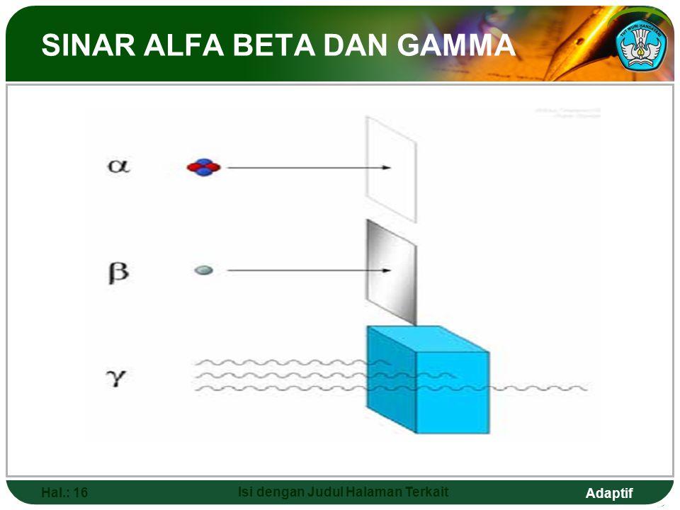 Adaptif INTI ATOM Hal.: 15 Isi dengan Judul Halaman Terkait  Ernest Rutherford (1911) penemu inti atom.  Zat radioaktif merupakan zat yang dapat mem