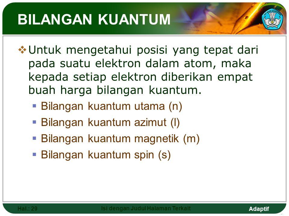 Adaptif ELEKTRON VALENSI Hal.: 28 Isi dengan Judul Halaman Terkait  Elektron valensi merupakan jumlah elektron yang terdapat pada kulit terluar suatu