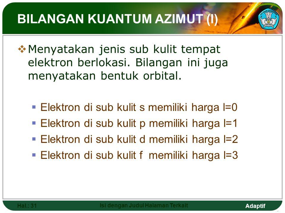 Adaptif BILANGAN KUANTUM UTAMA (N)  Menyatakan nomor kulit tempat elektron berlokasi atau ukuran orbital/jarak/jari- jari atom.  Elektron di kulit k