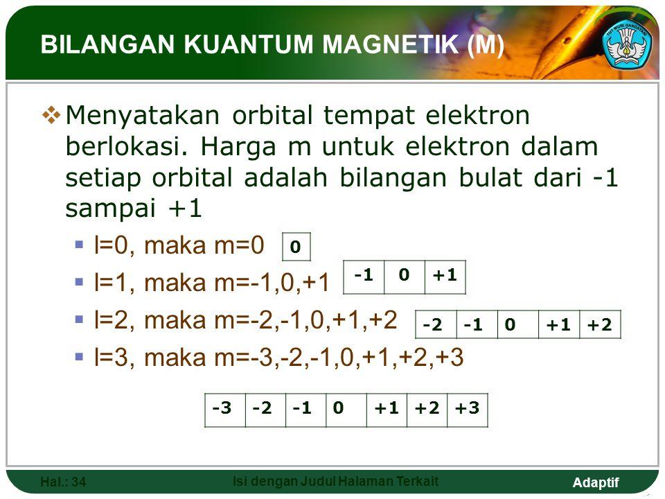 Adaptif CONTOH  Elektron pada tingkat energi 4s memiliki harga n = 4, l = 0  Elektron pada tingkat energi 2p memiliki harga n = 2, l = 1  Elektron